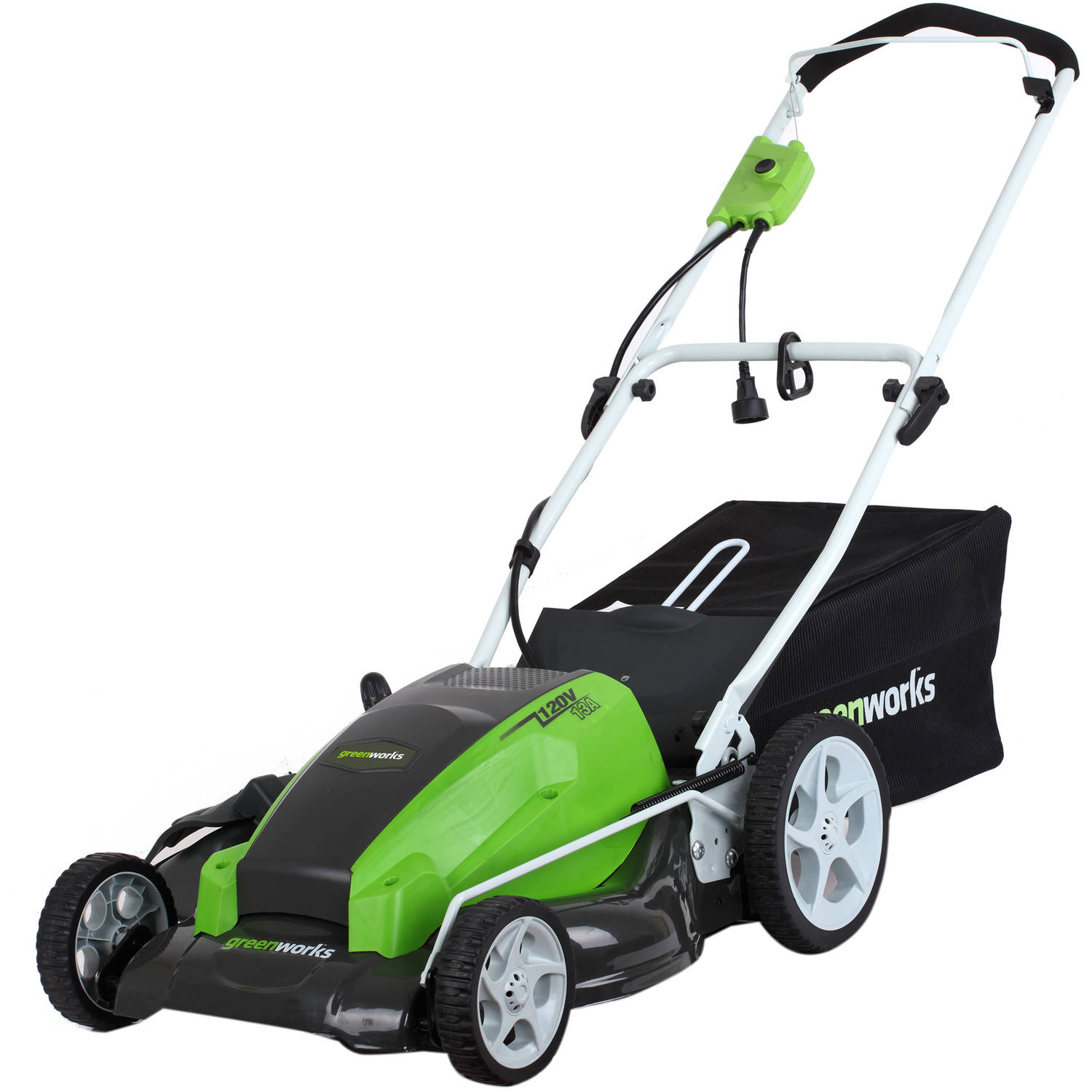 "Greenworks 120V 21"" Electric Lawn Mower, Green"