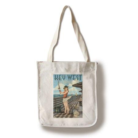Key West, Florida - Fishing Pinup Girl - Lantern Press Artwork (100% Cotton Tote Bag -