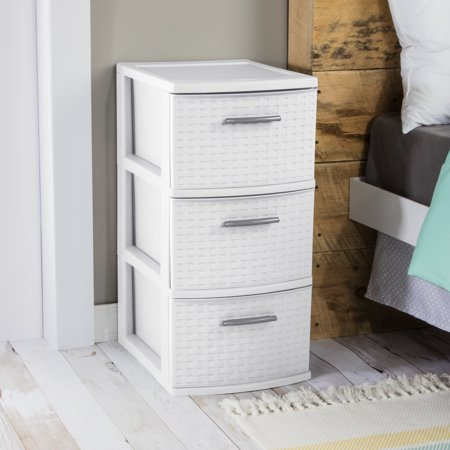 Sterilite 3 Drawer Weave Tower White Available In Case