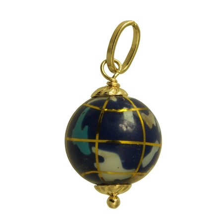 14K Real Yellow Gold Hollow Small Color Enamel Globe World Planet Earth 3D Charm Pendant Gold 3d Globe Charm