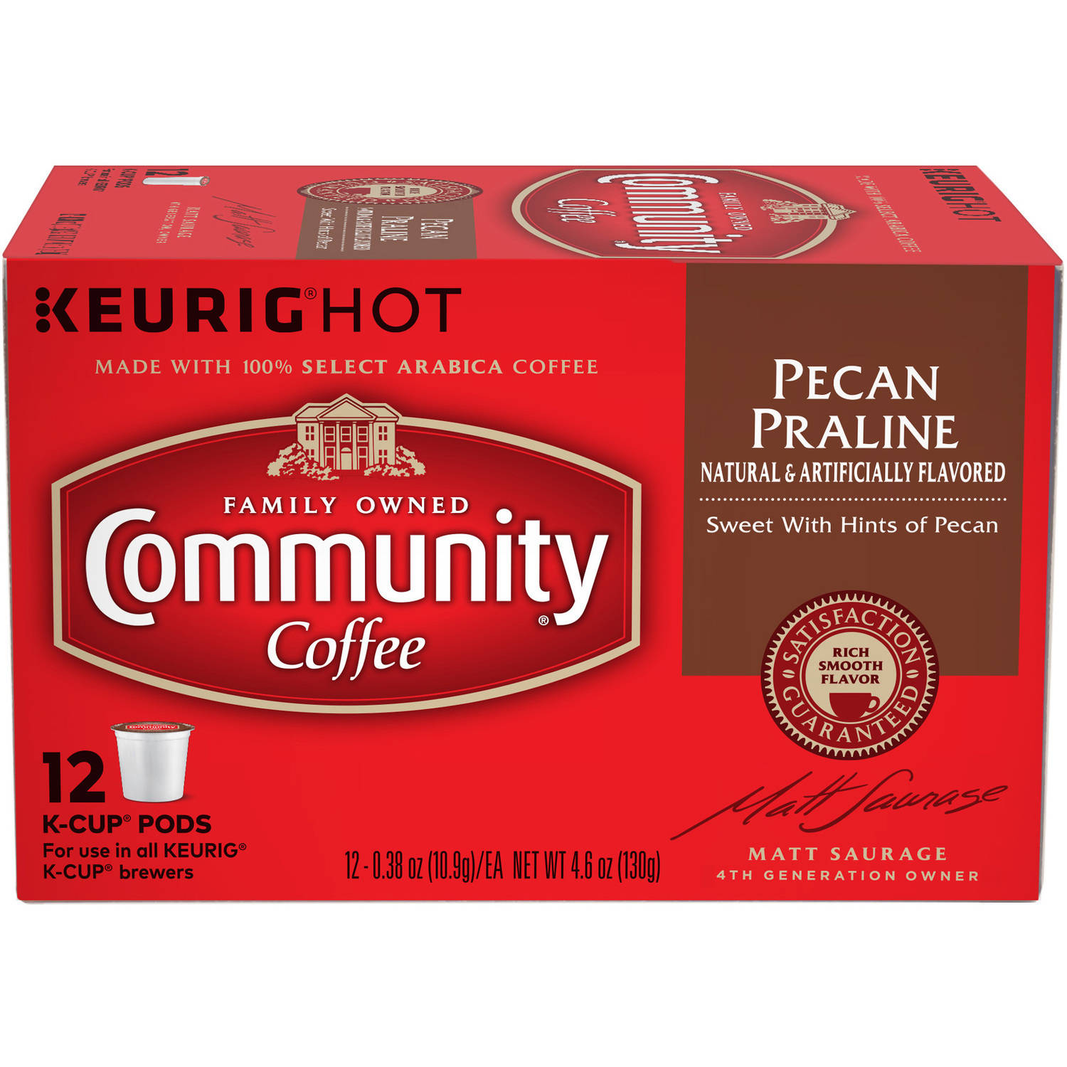 Community Coffee Pecan Praline Medium-Dark Roast Coffee Single Serve Cups, 12 count, 4.65 oz