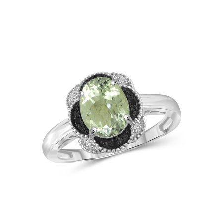 1.90 Carat T.W. Green Amethyst Gemstone and Accent Black and White Diamond Ring