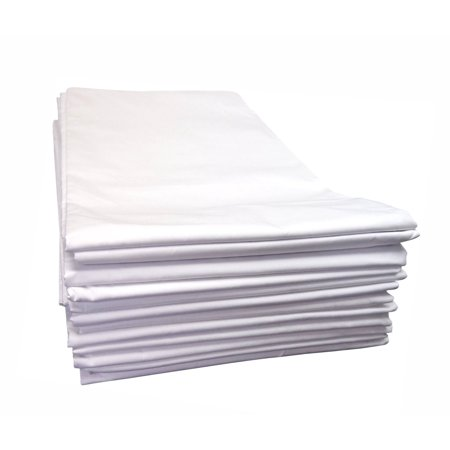 Linteum Textile (12-Pack, 66x104 in, White) Twin Flat Sheets, 180 Thread (Thin Flat)
