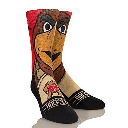 Rock Em Elite Maryland Terrapins Testudo Mascot NCAA Licensed Crew Socks (L/XL)