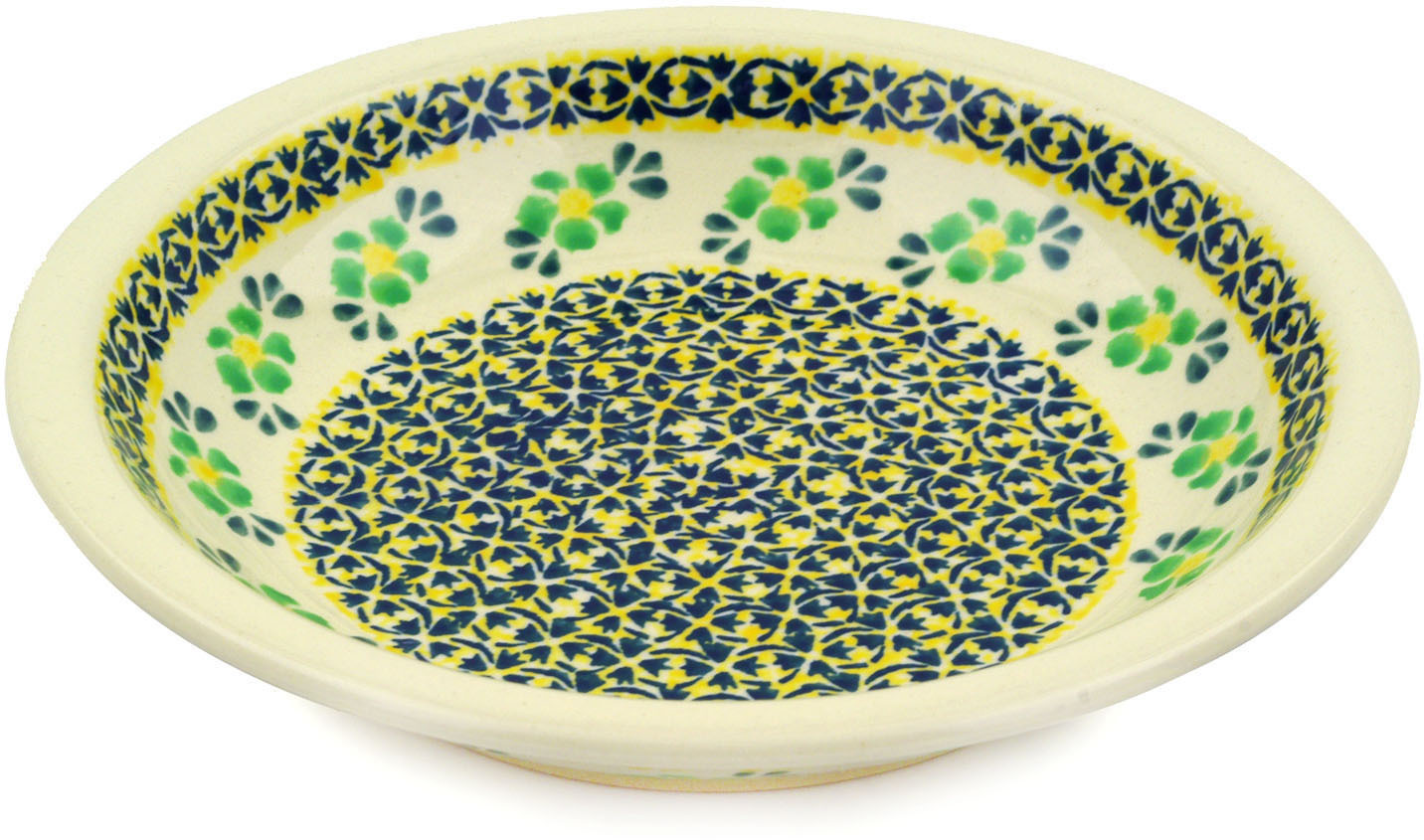Polish Pottery 9-inch Pasta Bowl (Lime Flowers Theme) Hand Painted in Boleslawiec, Poland + Certificate of... by Zaklady Ceramiczne