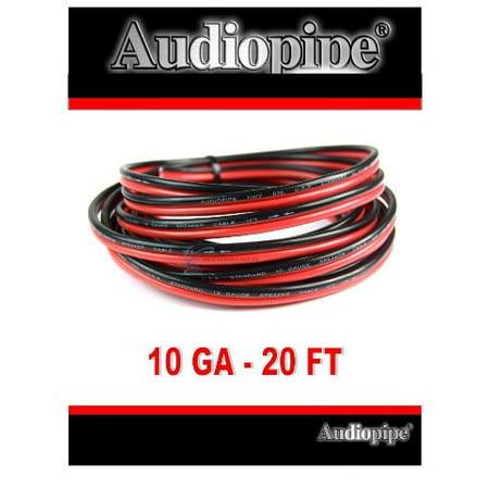 Audiopipe 20' Feet 10 GA Gauge Red Black 2 Conductor Speaker Wire Audio