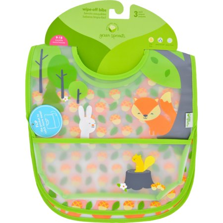 Green Sprouts Organic Terry - i play Inc   Green Sprouts  Wipe-Off Bibs  9-18 Months  Green Fox Set  3 Pack