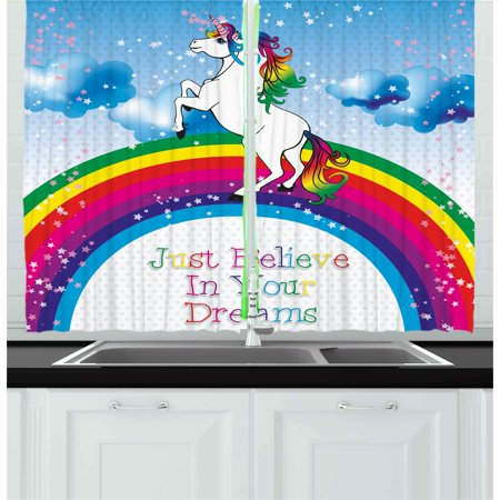 Kids Curtains 2 Panels Set, Unicorn Surreal Myth Creature before Rainbow Clouds Star Fantasy Girls Fairytale Image, Window Drapes for Living Room Bedroom, 55W X 39L Inches, Multicolor, by Ambesonne
