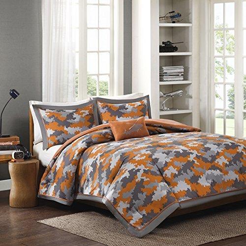 4 Piece Kids Boys Grey Orange, Teen Camo Bedding