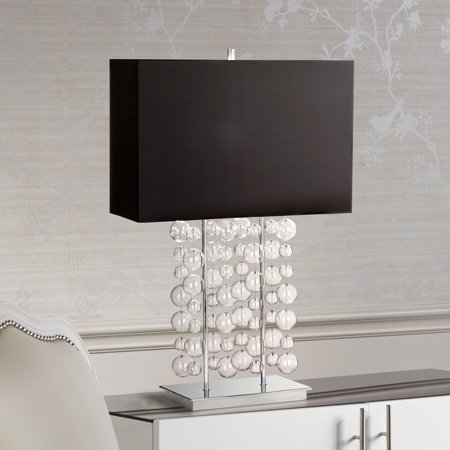 Educo Double Bubble (Possini Euro Design Modern Table Lamp Chrome Clear Bubble Cascade Glass Black Rectangular Shade for Living Room Family Bedroom)