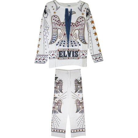 Elvis Presley Costume Jumpsuit Mens Pajamas [White - - Toddler Elvis Presley Halloween Costume
