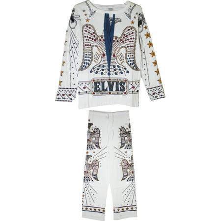 Elvis Presley Costume Jumpsuit Mens Pajamas [White - L]