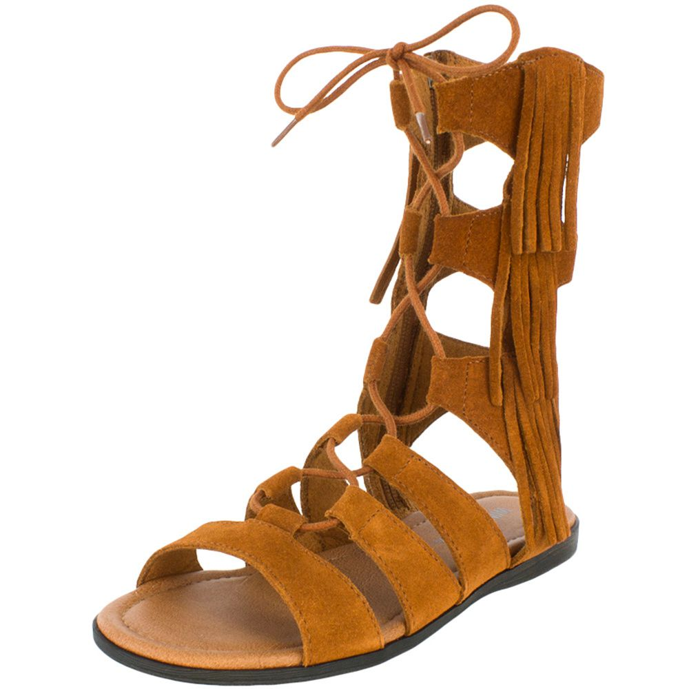 Minnetonka Womens Brown Milos Gladiator Fringe Sandal by MINNETONKA