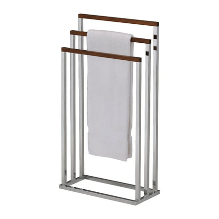 Walnut & Chrome Metal Free Standing Kitchen & Bathroom Towel & Quilt Rack Stand Organizer (3 Bars)