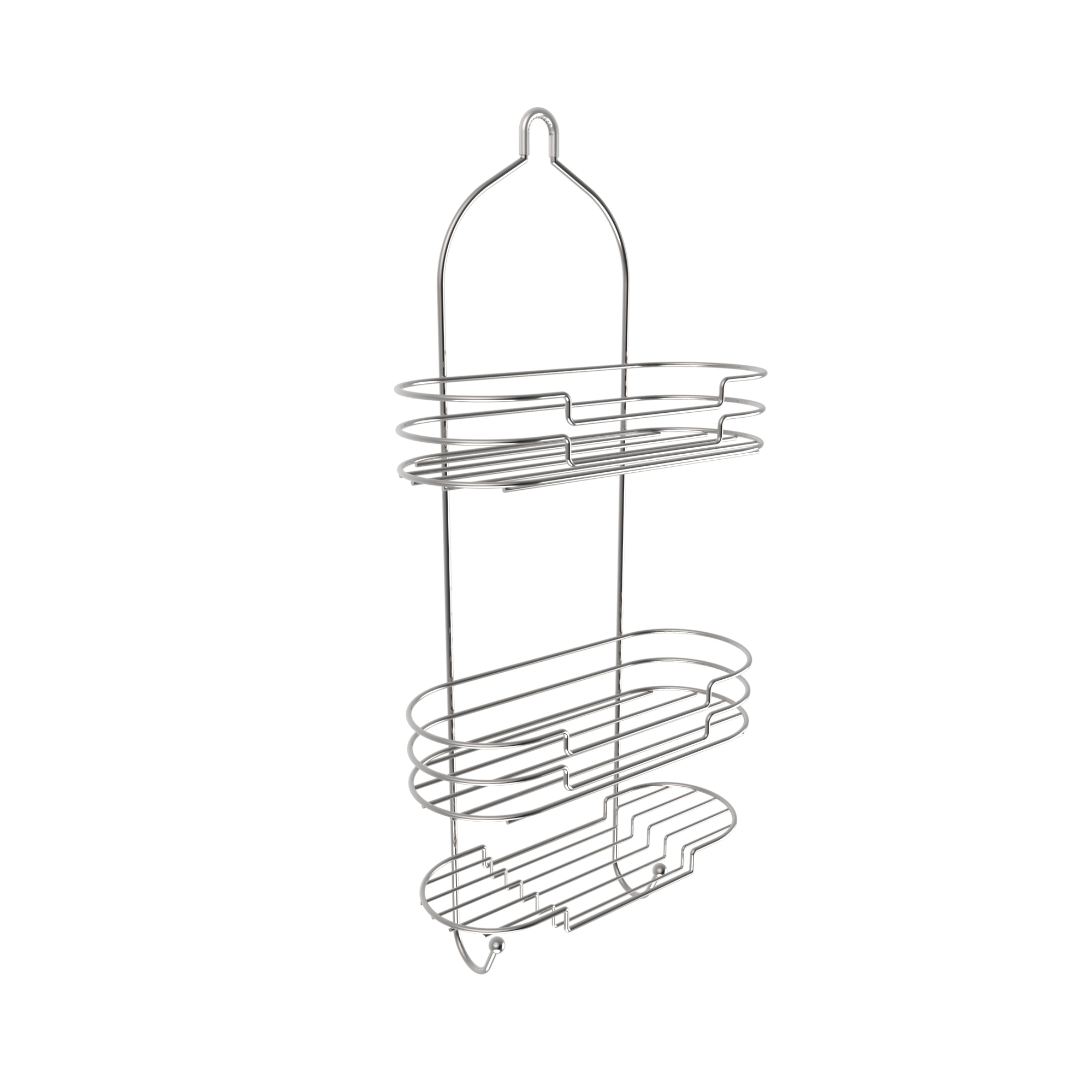 Tall Shower Caddy with Shelves and Hooks- Showerhead Bath Organizer with Non Slip Grip and... by Trademark Global