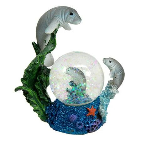 "Atlantic Collectibles Coastal Antillean Manatee Sea Cow Family Water Globe Figurine 4.25""H"