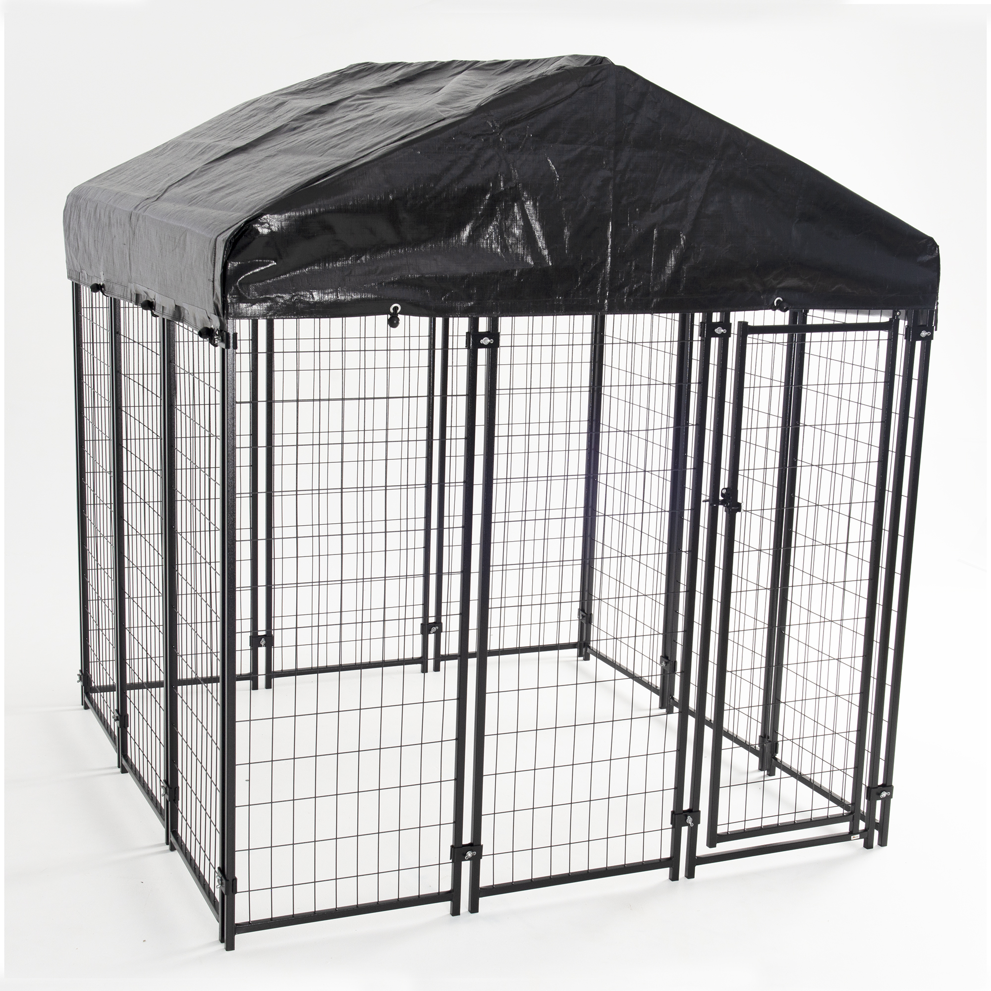 AKC® Uptown Dog™ 6ft x 6ft x 6ft. High Heavy-duty Dog Kennel with Roof & Cover for Backyards, Large Decks & Patios includes Free Training Guide