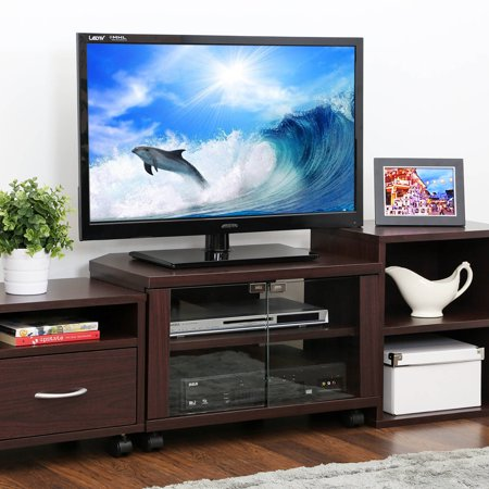 Furinno Indo Tier Petite Espresso TV Stand with Double Glass Doors and Casters