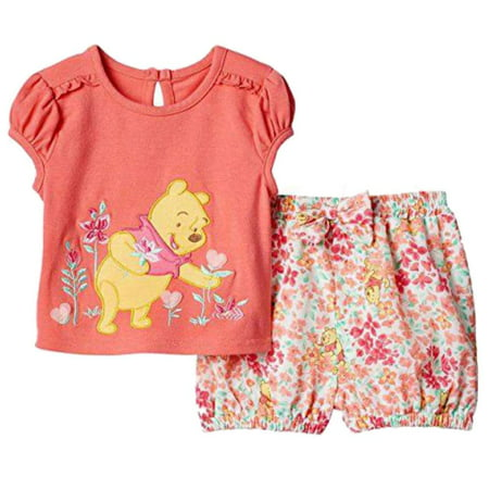 e170b0c163b8 Disney - Disney Infant Girls Orange Winnie the Pooh Bear Outfit Shirt    Shorts Set - Walmart.com