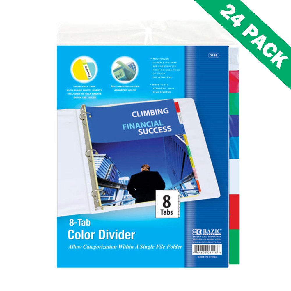 3ring Binder Dividers, Bazic Divider For 3 Ring Binder With Insert 24 Units by Bazic
