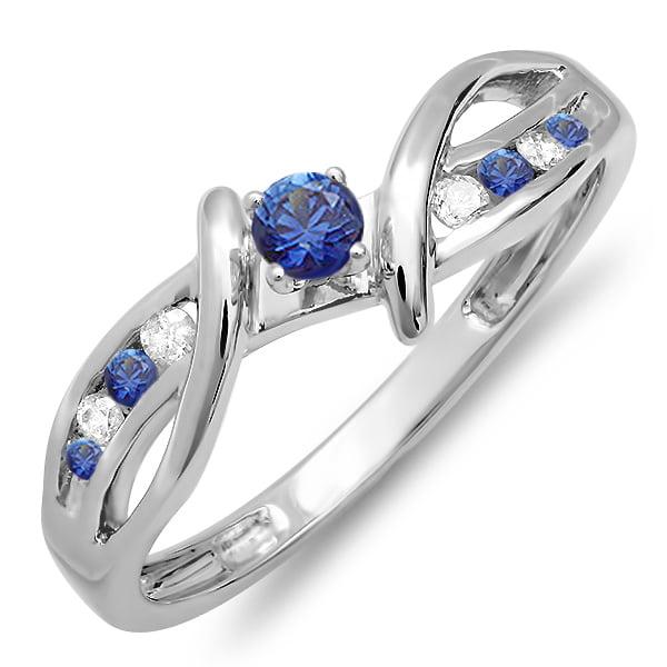 14K White Gold Blue Sapphire & Diamond Crossover Split Shank Bridal Promise Ring