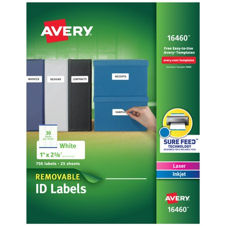 Removable Id Labels - Avery Removable ID Labels, Multiuse Labels, Sure Feed Technology, Removable Adhesive, 1