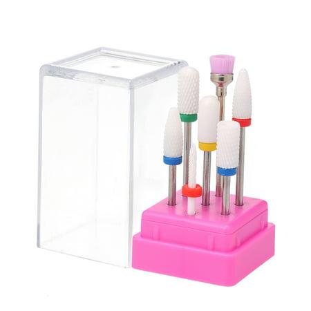 7pcs Ceramic Nail Drill Bits Set Pedicure & Manicure Drill Bits Kit Replacement Drill Bits for Electric Nail Drill Machine Acrylic Nail