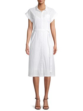 Time and Tru Women's Eyelet Belted Midi Shirt Dress