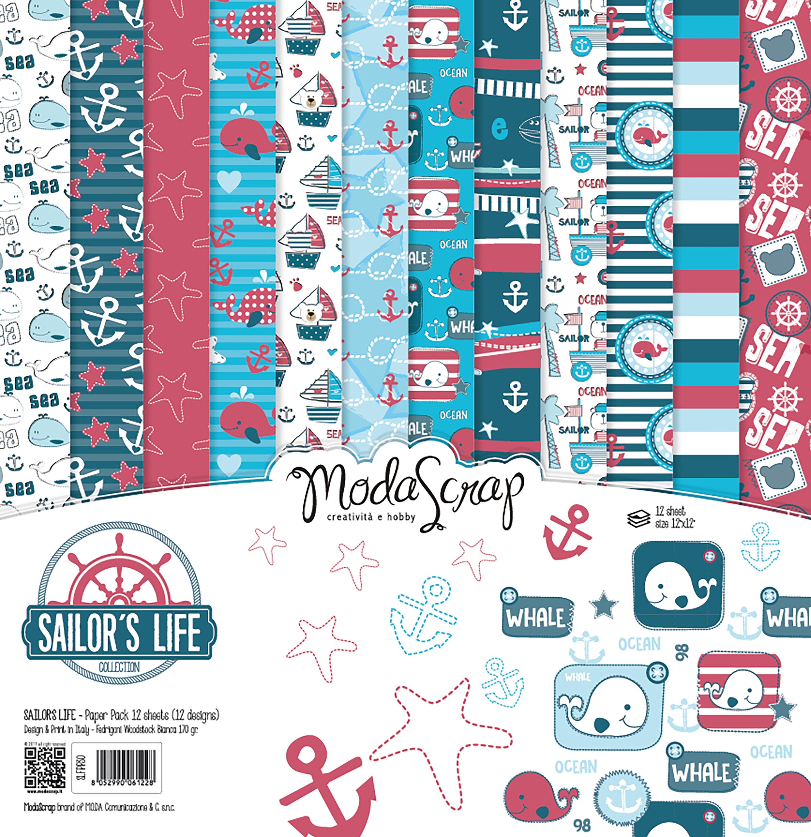 "Elizabeth Craft ModaScrap Paper Pack 12""X12"" 12/Pkg-Sailor's Life"