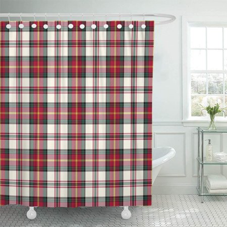 PKNMT Green British Christmas Plaid Red Checkered Flannel Holiday Material Pajamas Retro Shower Curtain Bath Curtain 66x72 inch