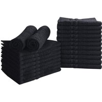 Beauty Threadz Cotton Bleach Proof Salon Towels (12-Pack, Black,16 x 27 inches) - Bleach Safe Gym Hand Towel