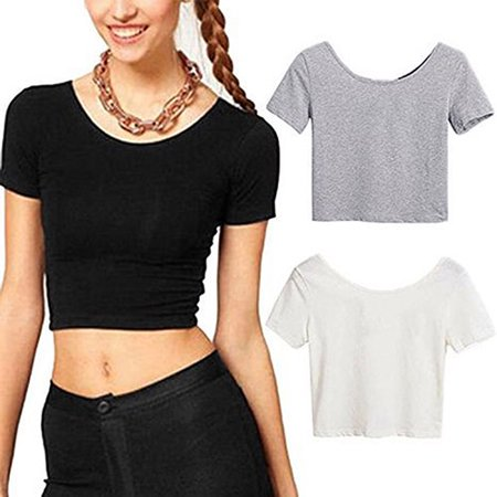 Bare Midriff Top - ZeAofa Women Sexy Scoop Neck Crop Tops Short Sleeve Bare Midriff Casual Blouse T-Shirt