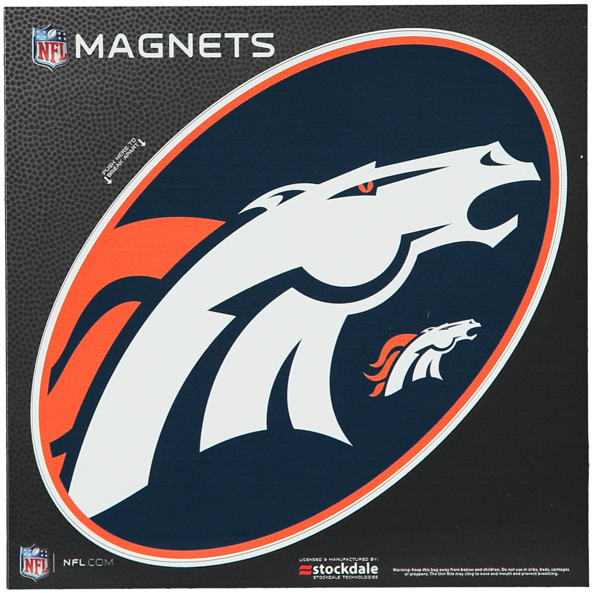 """Denver Broncos Mega 6"""" x 6"""" Oval Full Color Magnet - No Size"""