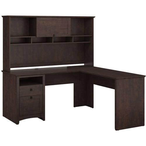 Bush Furniture Buena Vista L-Desk & Hutch in Madison Cherry Finish