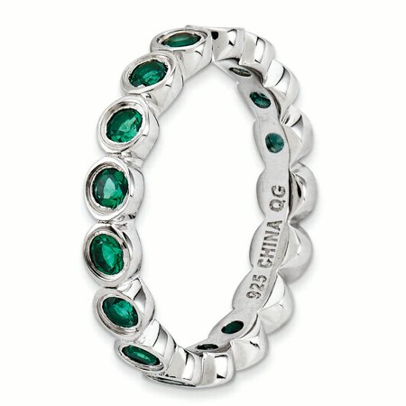 Sterling Silver Stackable Expressions Created Emerald Ring Size 7 - image 2 de 3