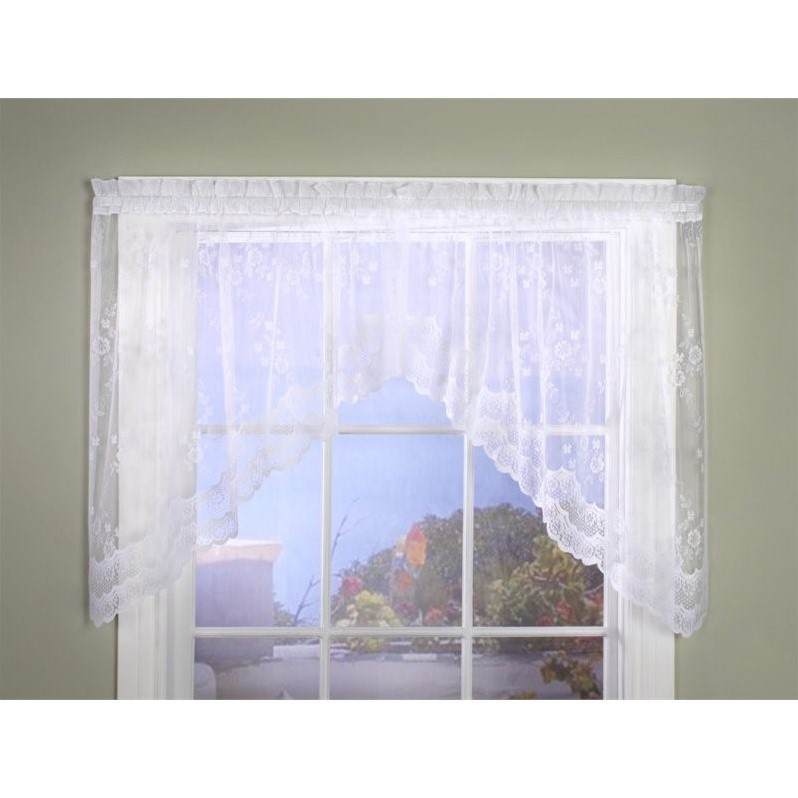 Commonwealth Mona Lisa Bridal Lace Rod Pocket Curtain Swag in White - image 1 de 1