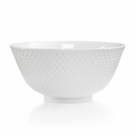 Martha Stewart Collection Whiteware Geometric Embossed Porcelain Small Bowl