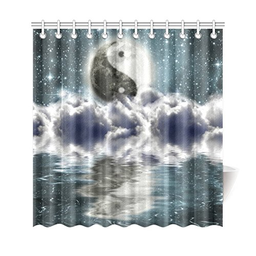 GCKG Ying Yang Shower Curtain Moon Starry Night Polyester Fabric