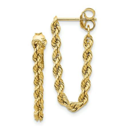 14K Yellow Gold 0.8 MM Rope Chain Dangle Post Earring MSRP $188](Dangle Reno)