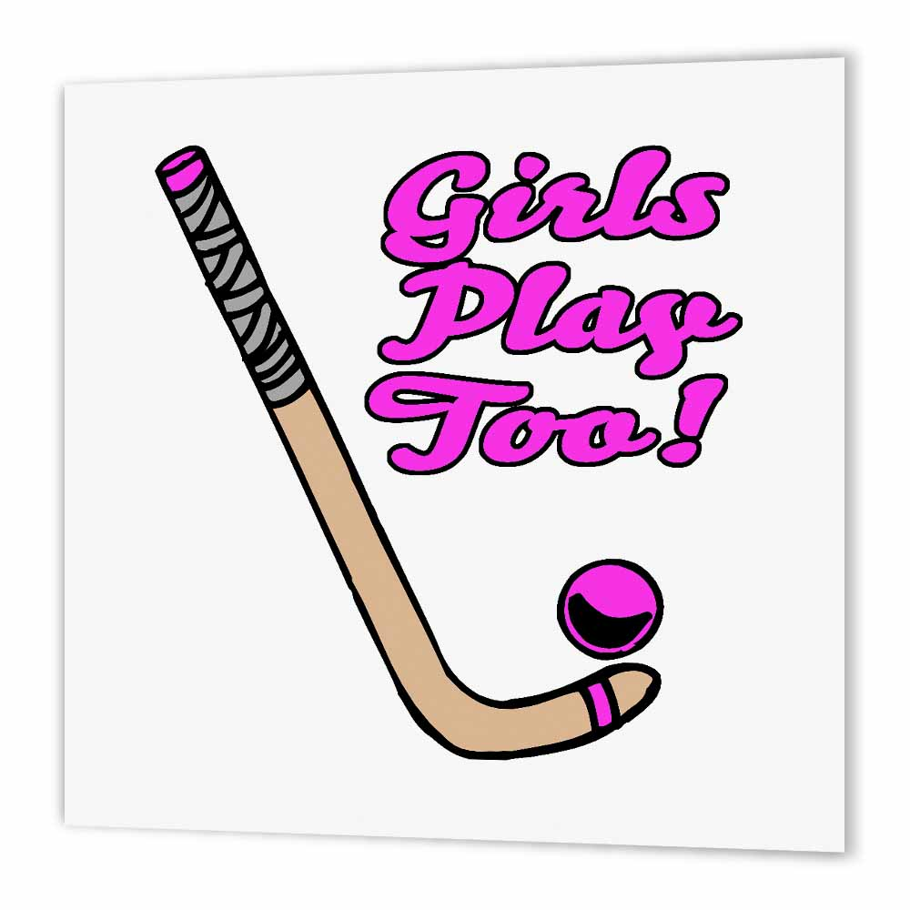 3dRose Girls Play Too Pink Field Hockey Stick And Ball Sports Design, Iron On Heat Transfer, 6 by 6-inch, For White Material