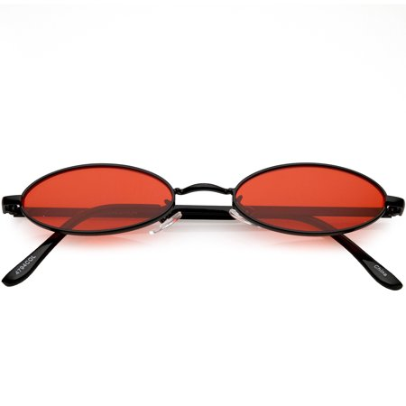 Extreme Small Oval Sunglasses Color Tinted Flat Lens 51mm (Black / Red)