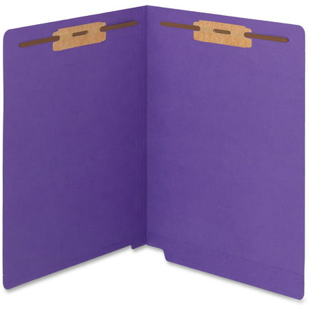 Smead WaterShed®/CutLess® End Tab Fastener Folder, Reinforced Straight-Cut Tab, Two Fasteners, Letter Size, Purple, 50 per Box (25550)