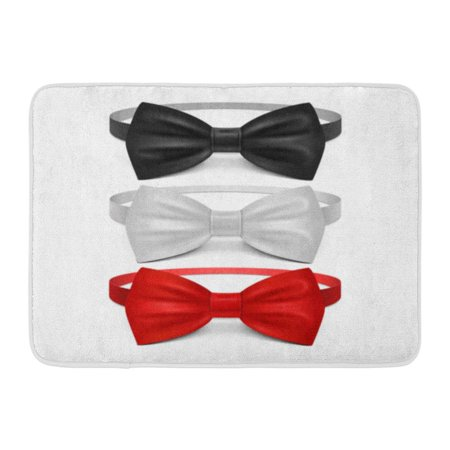 (GODPOK Ribbon Bowtie Realistic White Black Red Bow Tie Ceremony Classic Garment Butterfly Knot Tuxedo Rug Doormat Bath Mat 23.6x15.7 inch)