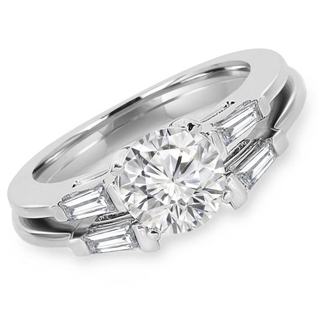 Majesty Diamonds MD170352-P 1.25 CTW Round Diamond Solitaire with Accents Engagement Ring & Wedding Band Set in 14K White Gold - image 1 of 1