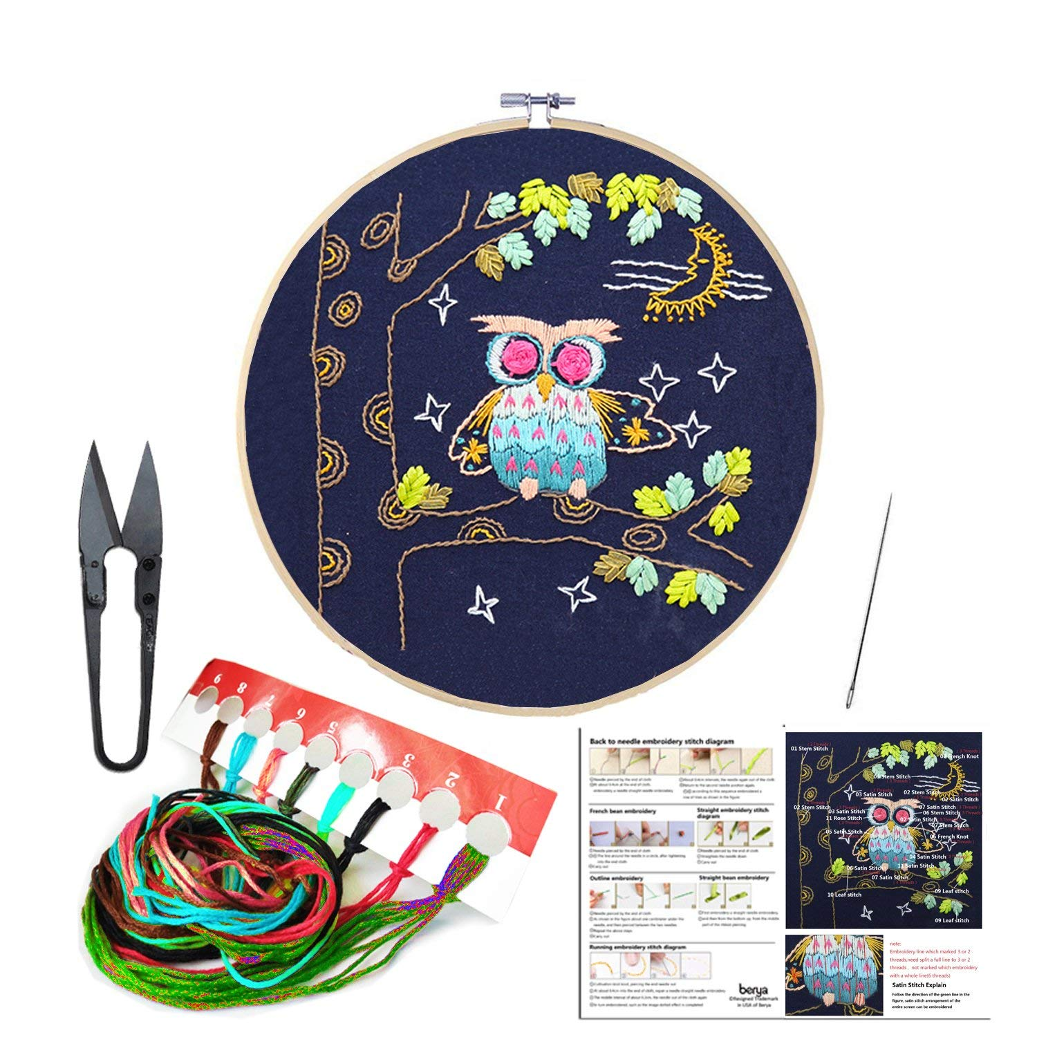 Full Set of Handmade Embroidery Starter Kit with Cute Animal Pattern Including Embroidery Cloth,Bamboo Embroidery Hoop, Color Threads, and Tools Kit for Beginners (Owl)