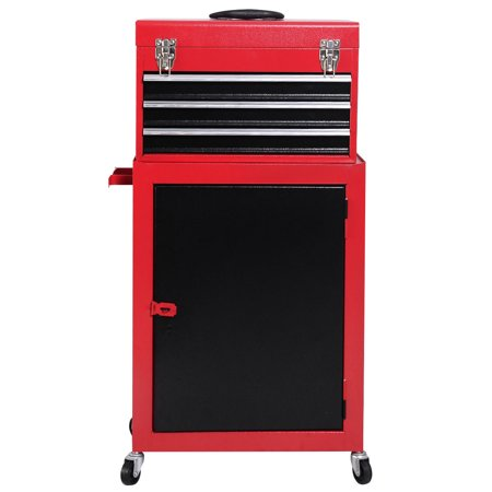 Little Red Tool Box - Costway 2pc Mini Tool Chest & Cabinet Storage Box Rolling Garage Toolbox Organizer