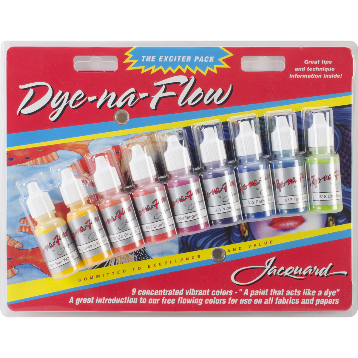 Jacquard Dye-Na-Flow Exciter Pack .5oz 9/Pkg-