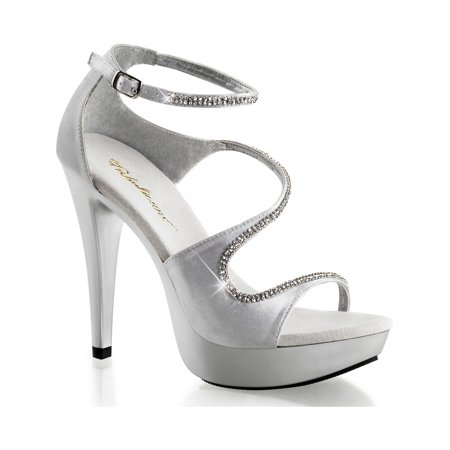 Womens Sensational Silver Dress Shoes with Rhinestone Detail and 5 Inch Heels (3 Inch Rhinestone Heels)