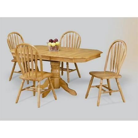 Sunset Trading Pedestal Extension Dining Table in Light Oak Finish ()