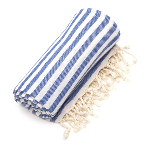 Authentic Hotel and Spa Authentic Pestemal Fouta True Blue Turkish Cotton Bath/ Beach Towel